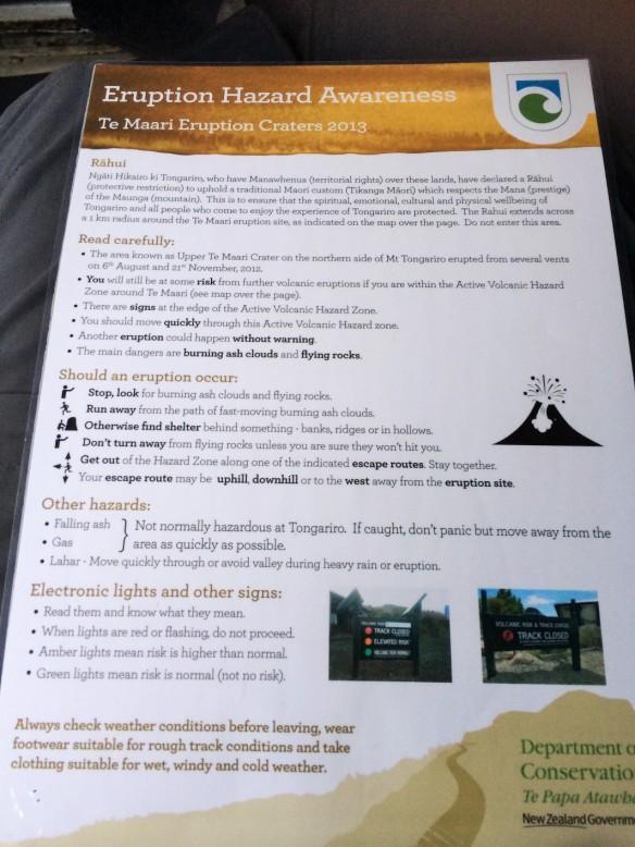 Advertencias antes de subir el Tongariro